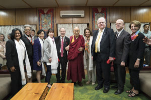 His Holiness the Dalai Lama with the U.S. Congressional delegation led by U.S. House Democratic leader Nancy Pelosi at the residence of His Holiness the Dalai Lama, 9 May 2017. Photo/OHHDL/Tenzin Choejor